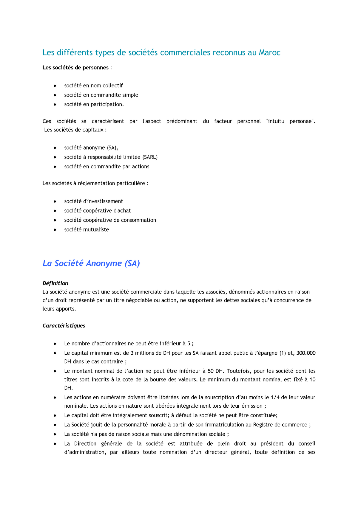 Formes Juridiques Des Societes Commerciales Droit Francais