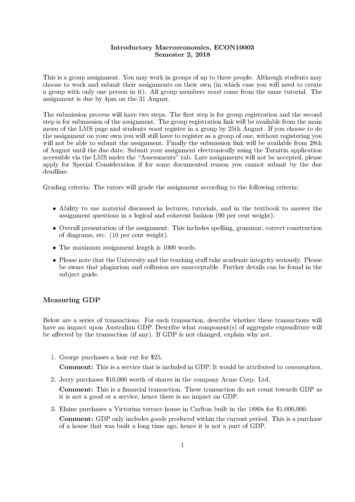 Solution 1 2018S2 - ECON10003: Introductory Macroeconomics