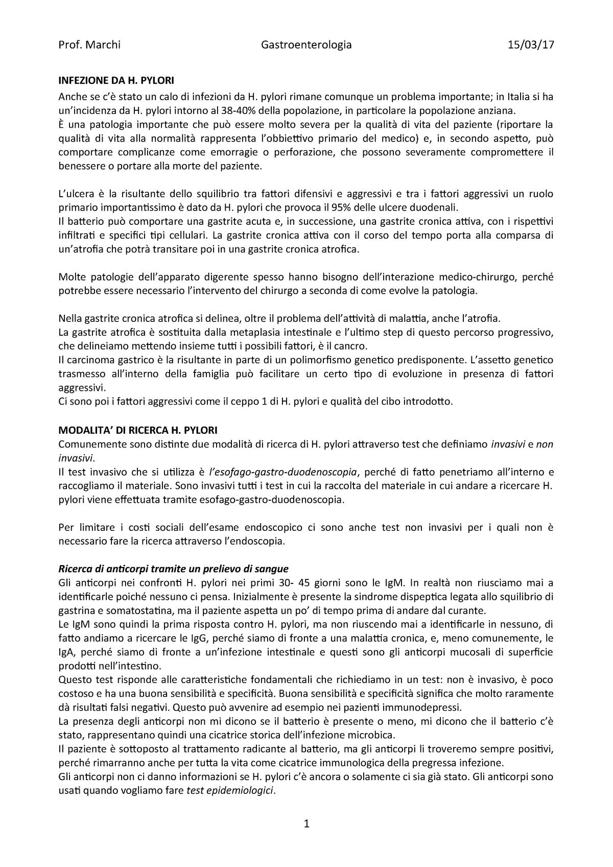 dieta raccomandata da h pylori