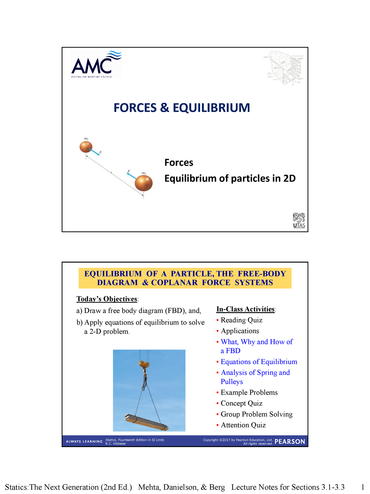 Week 3 Forces and Equilibrium - KNE113 Engineering Statics