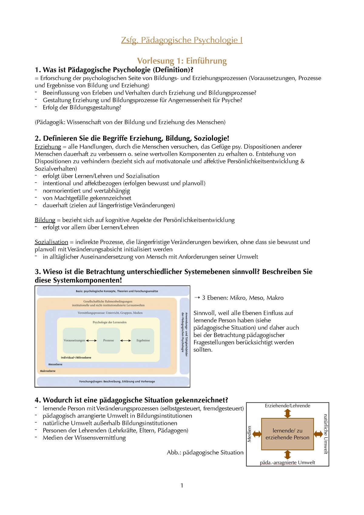 Zusammenfassung Pädagogische Psychologie I - StuDocu