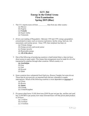 Exam 2019 - GCU 364: Energy in the Global Arena - StuDocu
