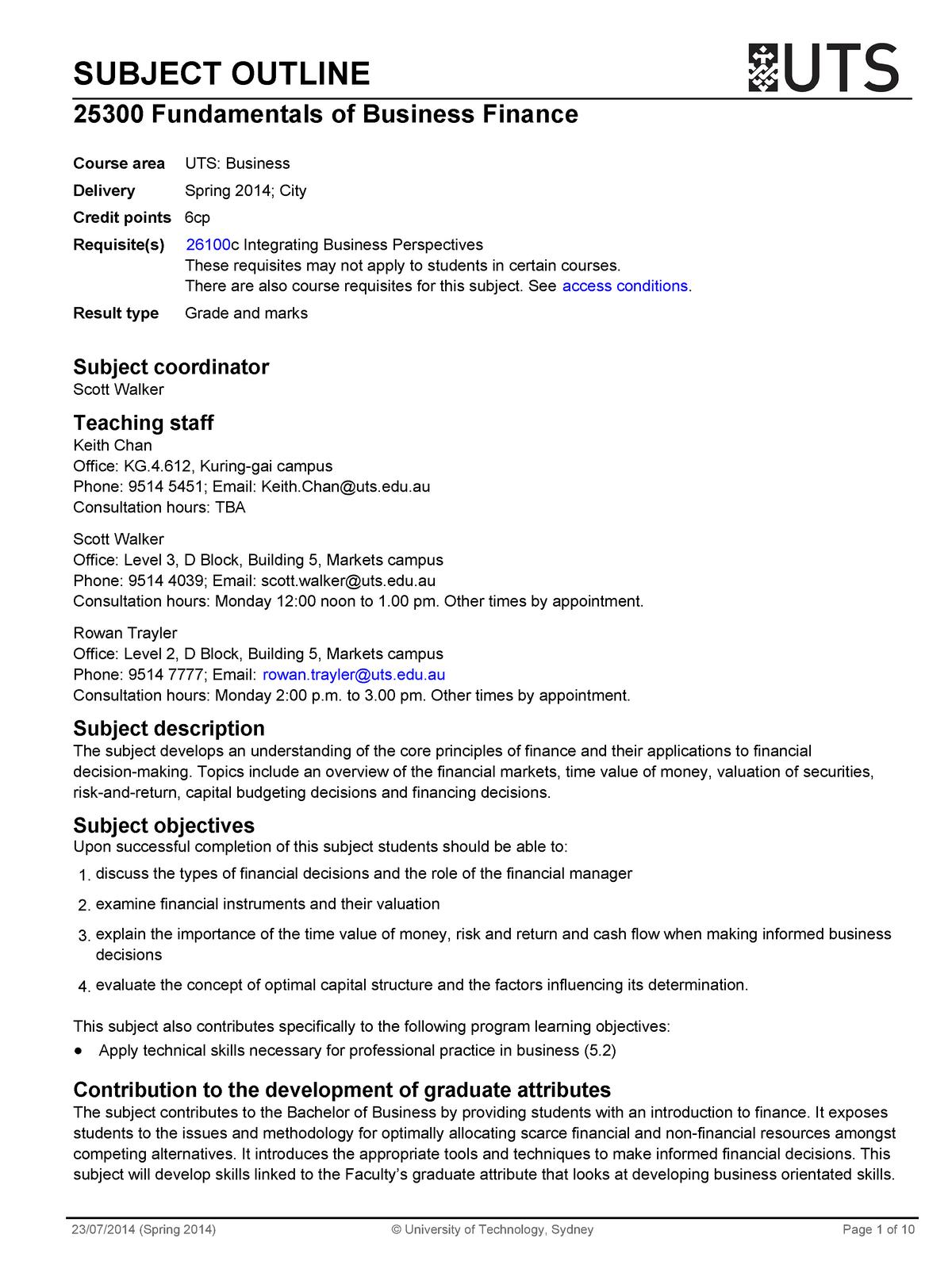 2014 SPR 25300 city - 025300 : Fundamentals of Business Finance
