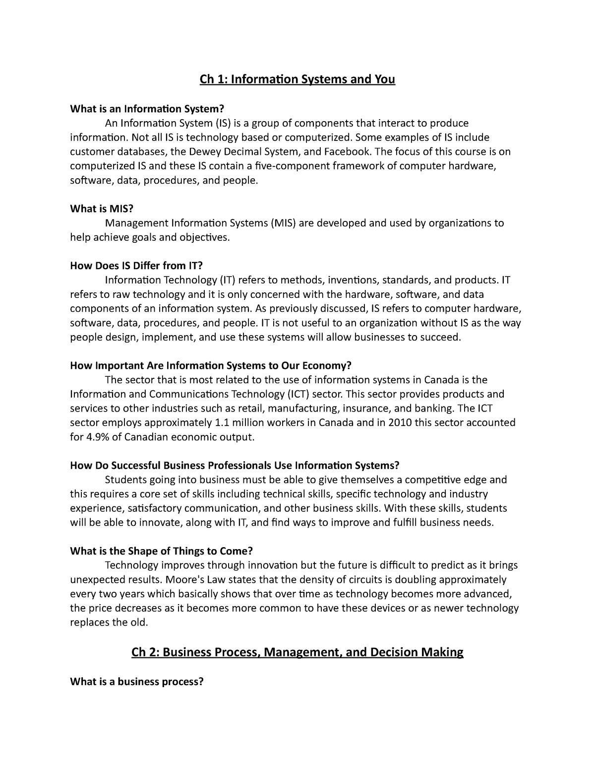 Management Information System Lesson 1 6 Cmis 351 Au Studocu