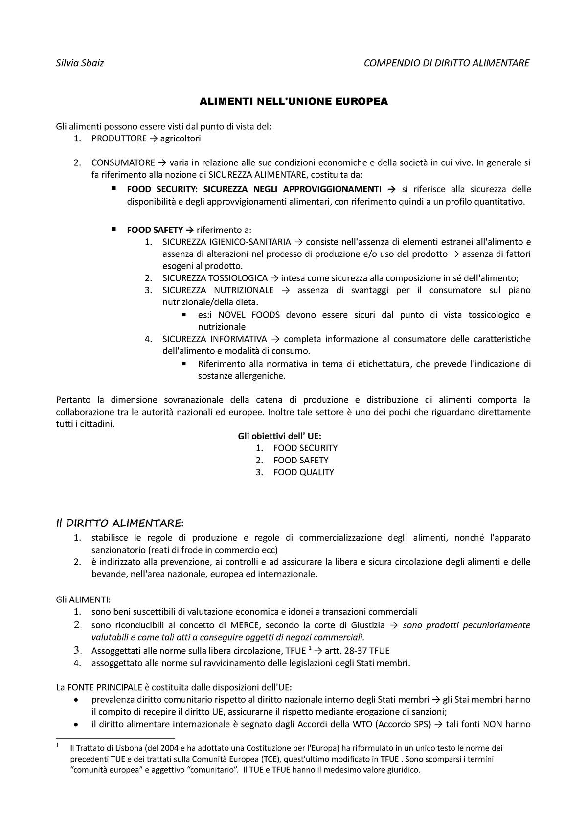 180dc234a1 Compendio di diritto alimentare - Diritto agro alimentare/ Agricultural and  Food Law - StuDocu