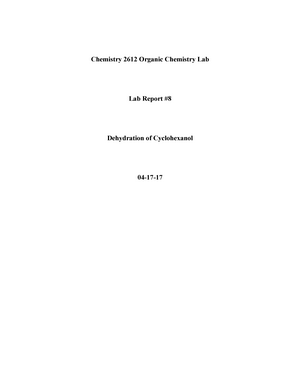 dehydration of cyclohexanol lab report