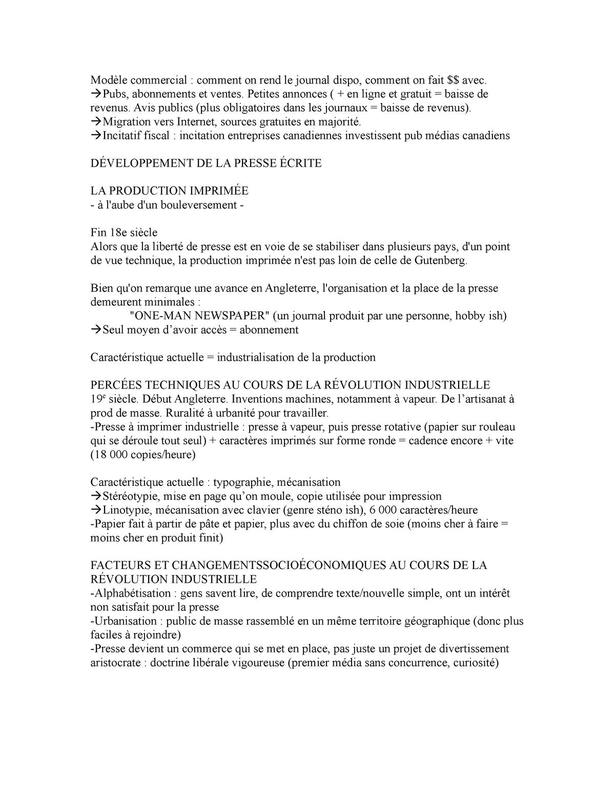 Cours 3 Presse Imprimee 18e Siecle Et Apres Revolution Industrielle Facteurs Socioeconomiques Studocu