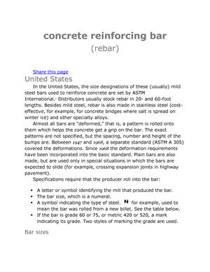 Concrete reinforcing bar - CE 333: Construction Materials & Testing