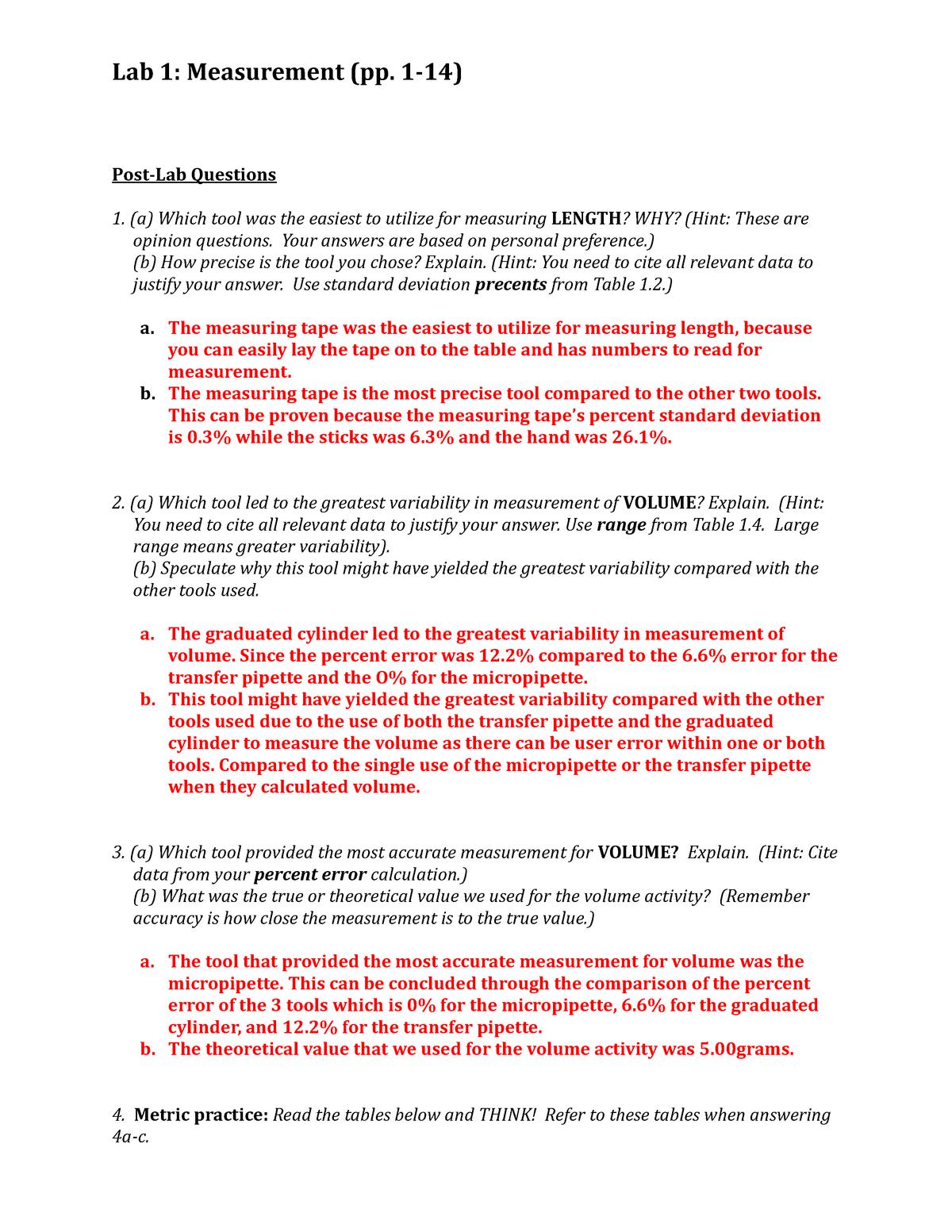 Lab 25: Measurement (pp. 25-254) - Lab 25: Measurement (pp. 25-254) Post In Percent Error Worksheet Answer Key