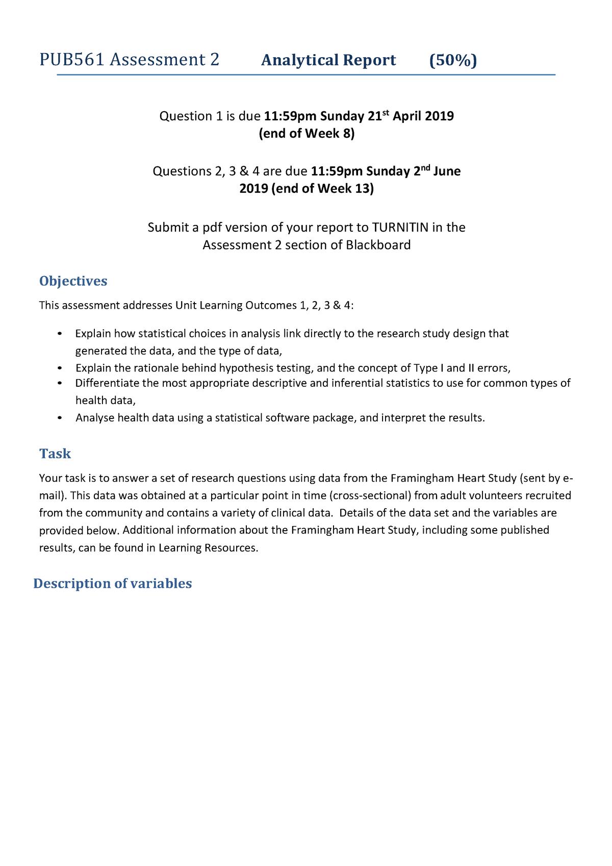 PUB561 Assignment Framingham - Statistical Methods in Health