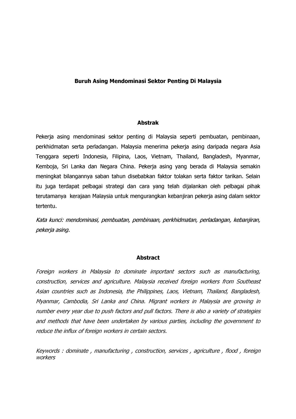 Artikel Jumlah Pekerja Asing Di Malaysia Mengikut Negara Asal Studocu