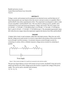 Lab 3 Parallel and series circuits - PHYS 163 - SLU - StuDocu