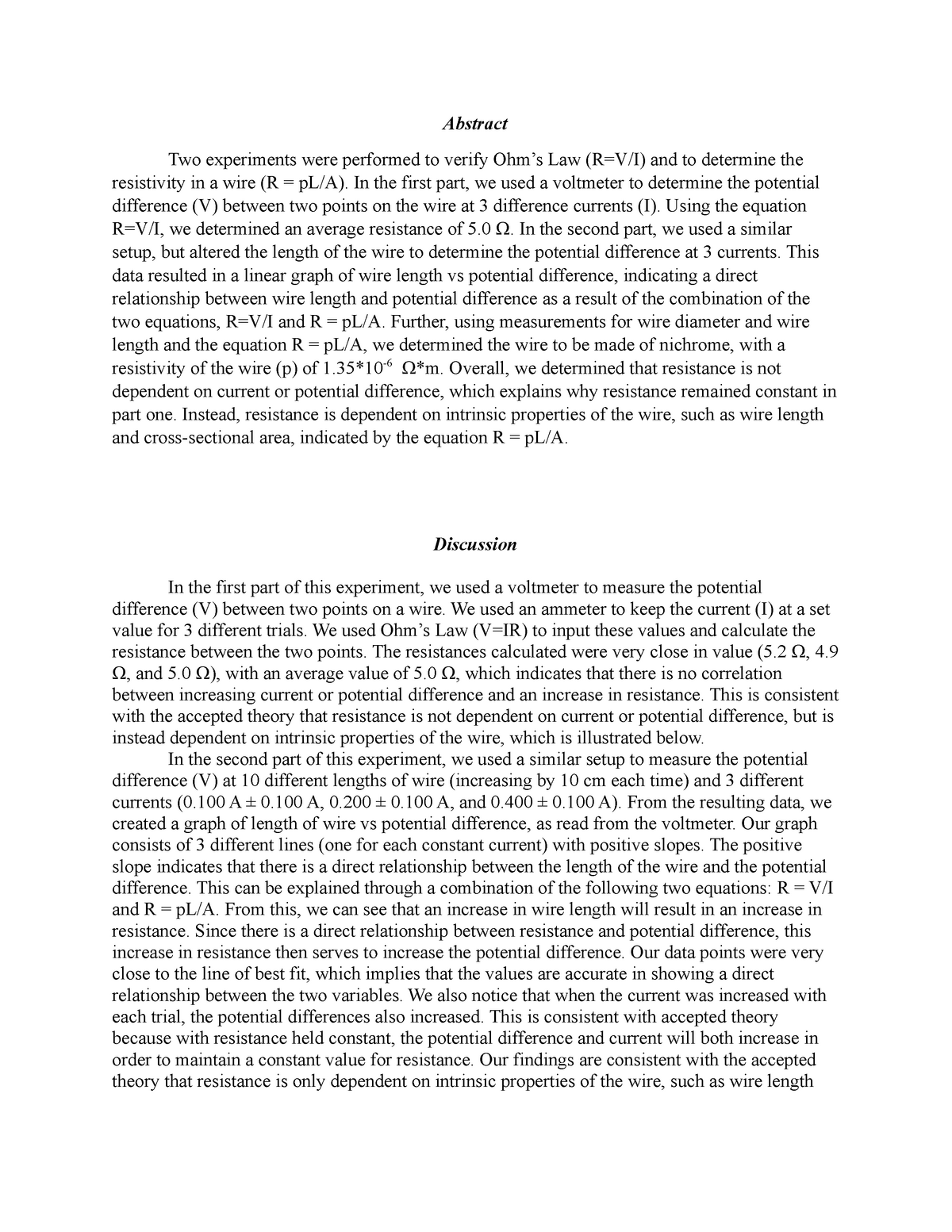 Seminar assignments - Ohm's law abstract and discussion