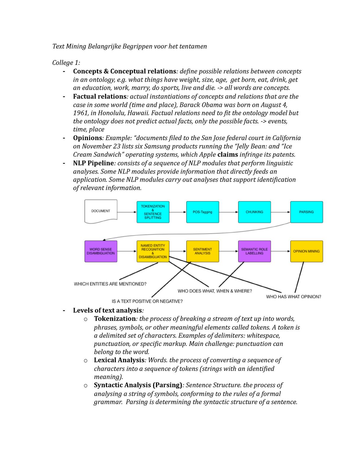 Text Mining Belangrijke Begrippen Voor Het Tentamen - - StuDocu
