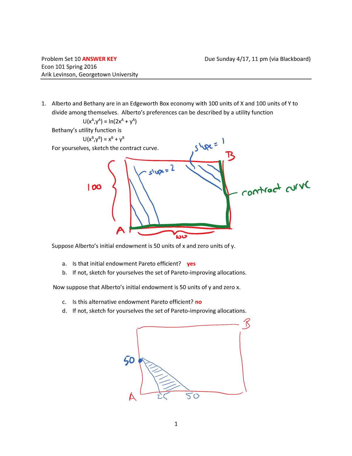 PS10 101 key - homework - ECON 501: Intermediate Micro - StuDocu
