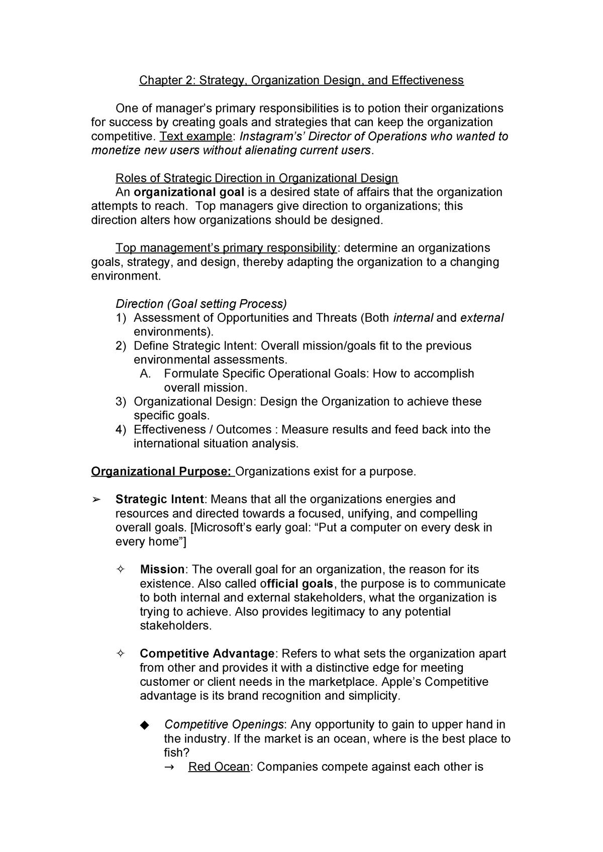 Chapter 2 Strategy Organization Design And Effectiveness Studocu