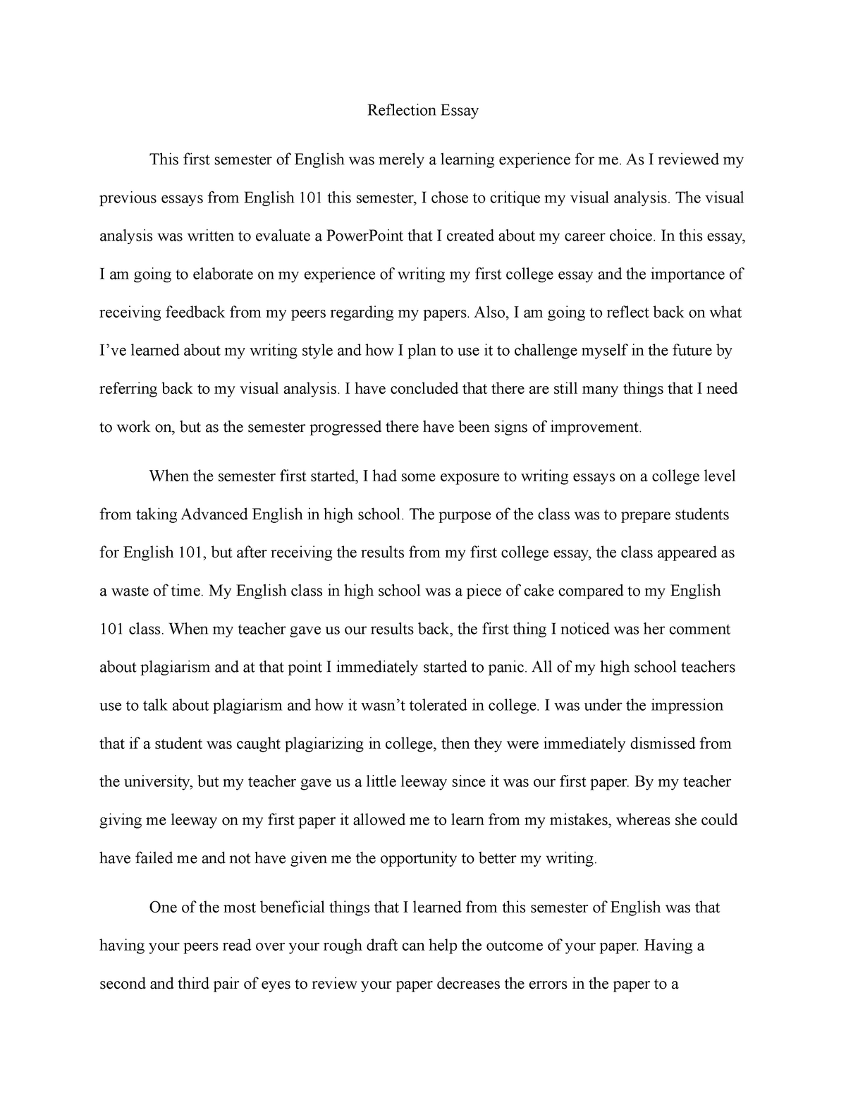 reflection essay   grade a   eh  english composition i
