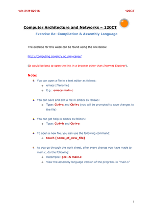 Exercise 8a Compilation Assembly Language - 120CT: Computer