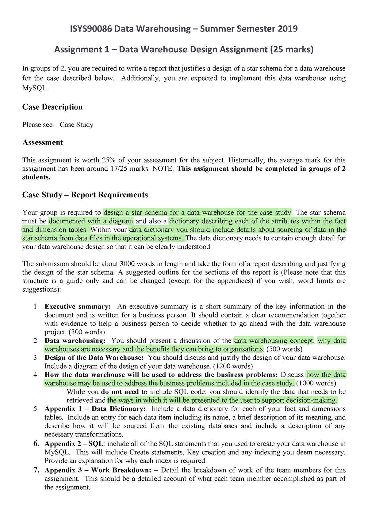 Ass1 DW 2019 - SINF90004: Data Warehousing - StuDocu