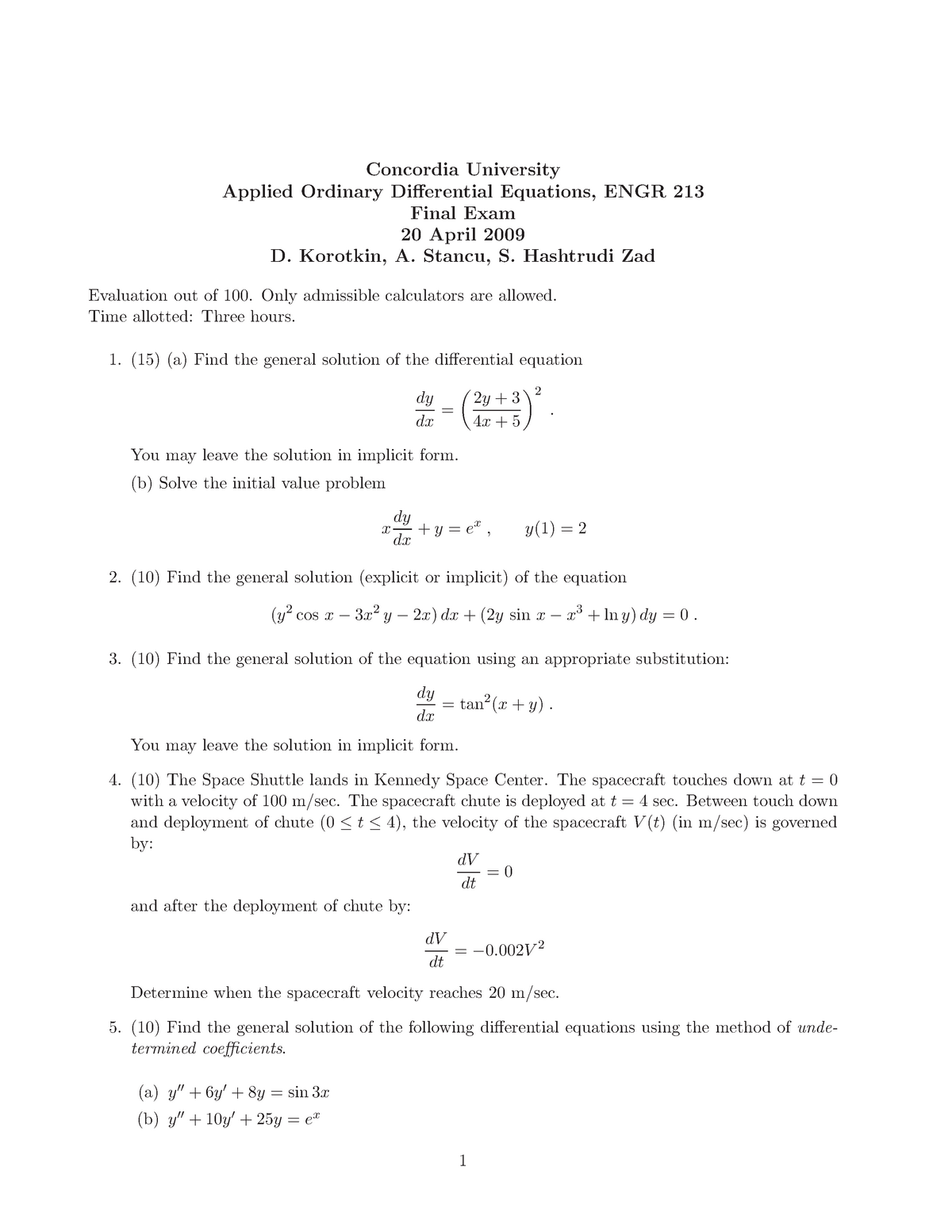 Exam 2009 - ENGR 213: Applied Ordinary Differential