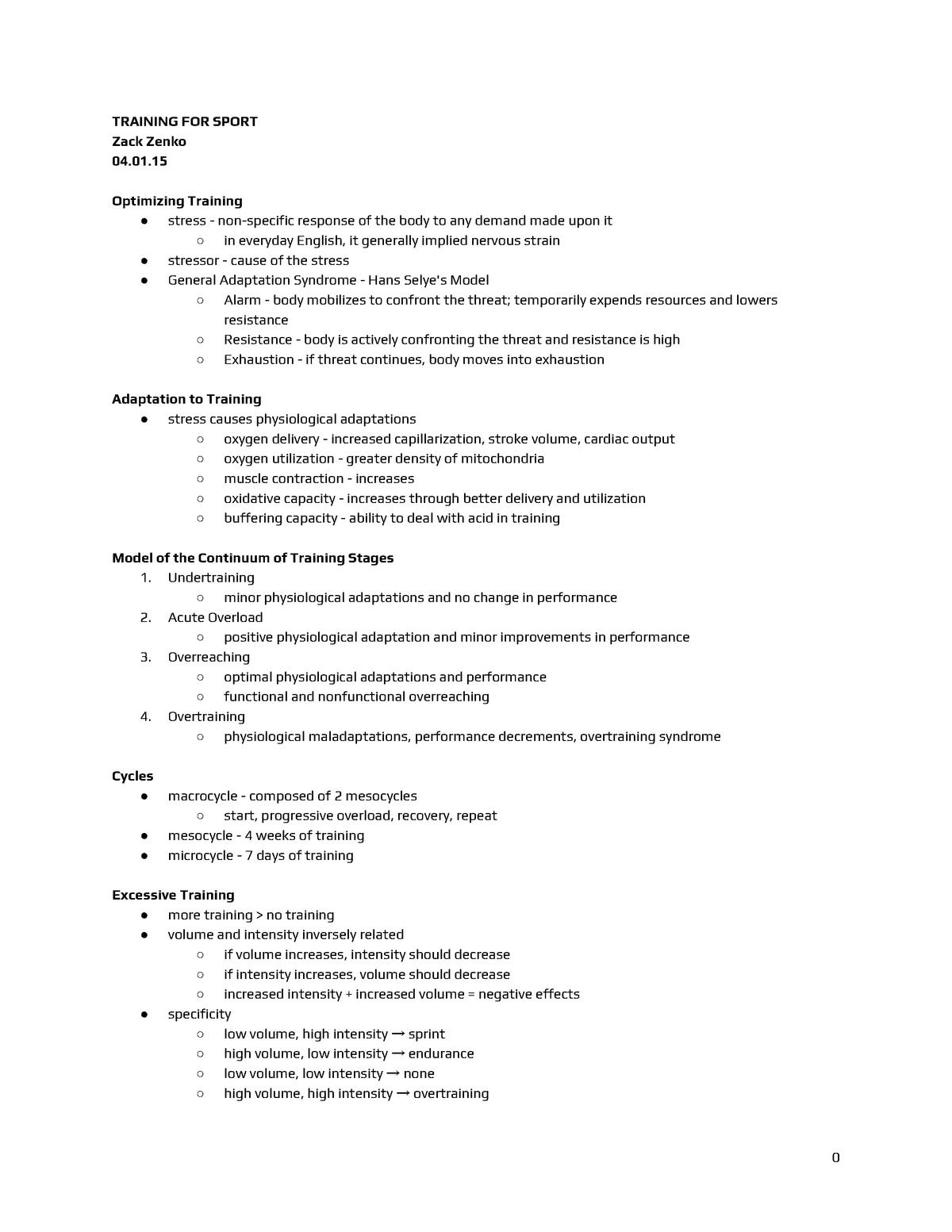 KIN 358 - Unit 4 Notes - KIN 358: Physiology Exercise - StuDocu