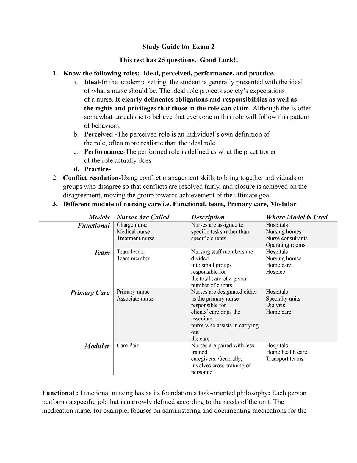 Study Guide for Exam 2 - NURS 315 Concepts Of Nursing - StuDocu