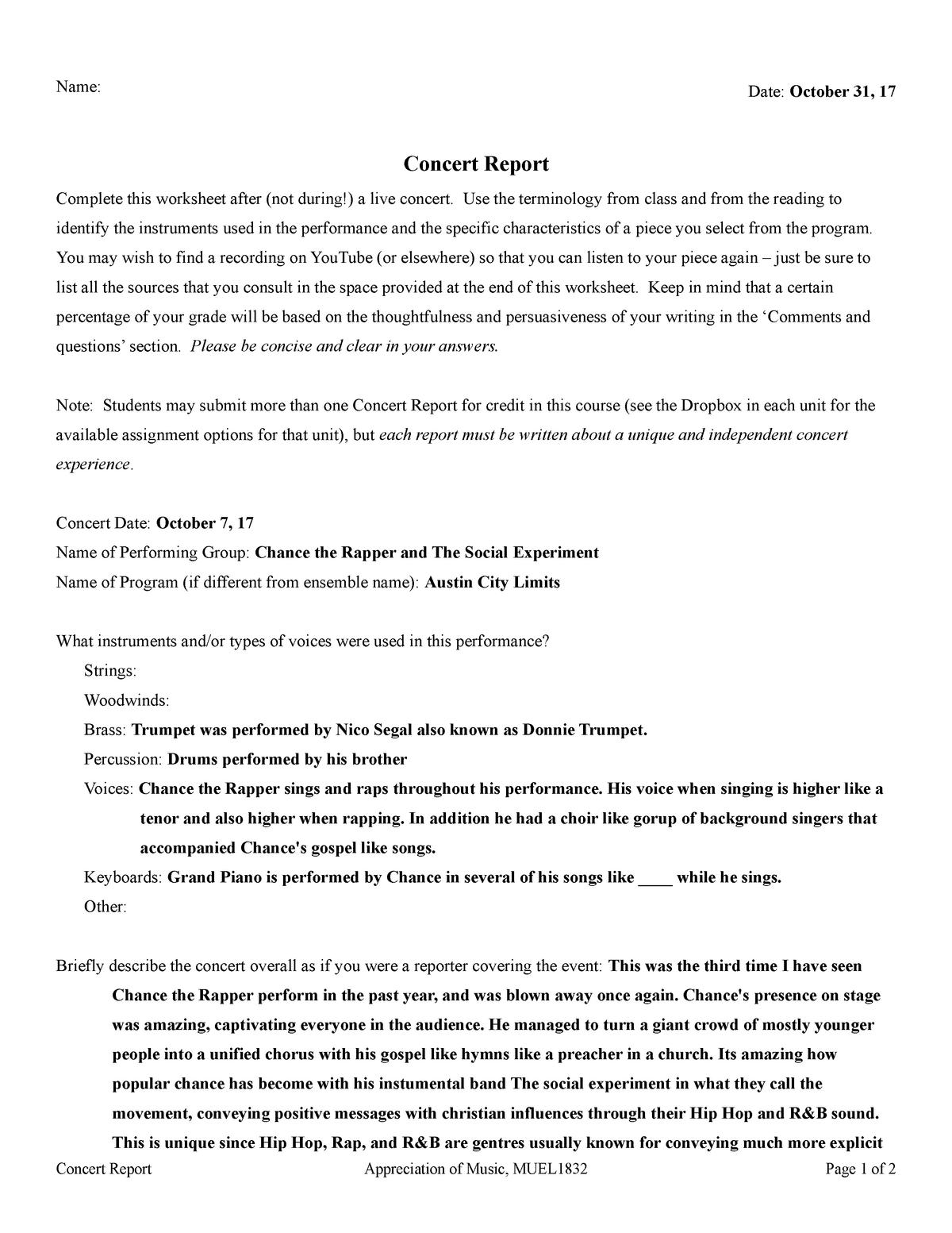 Homework Help With Music Concert Report