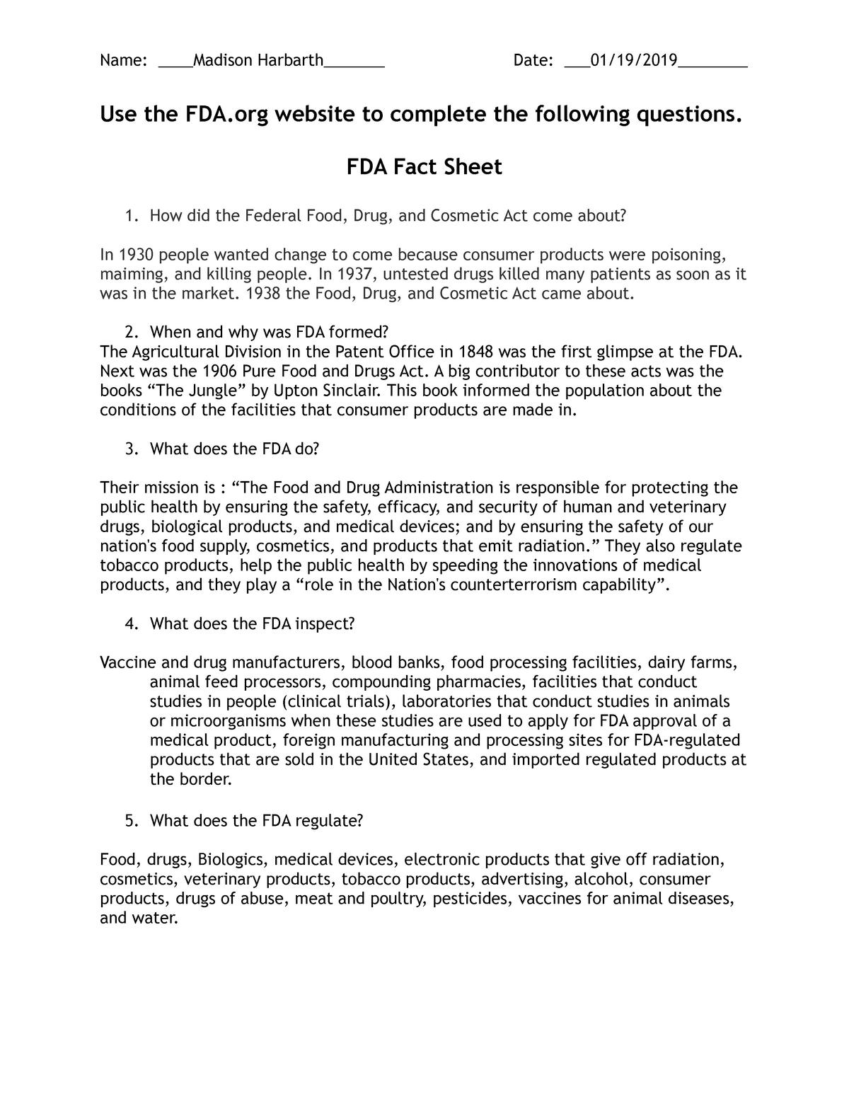 FDA Fact Sheet - NRSE 3350: Nursing Informatics and