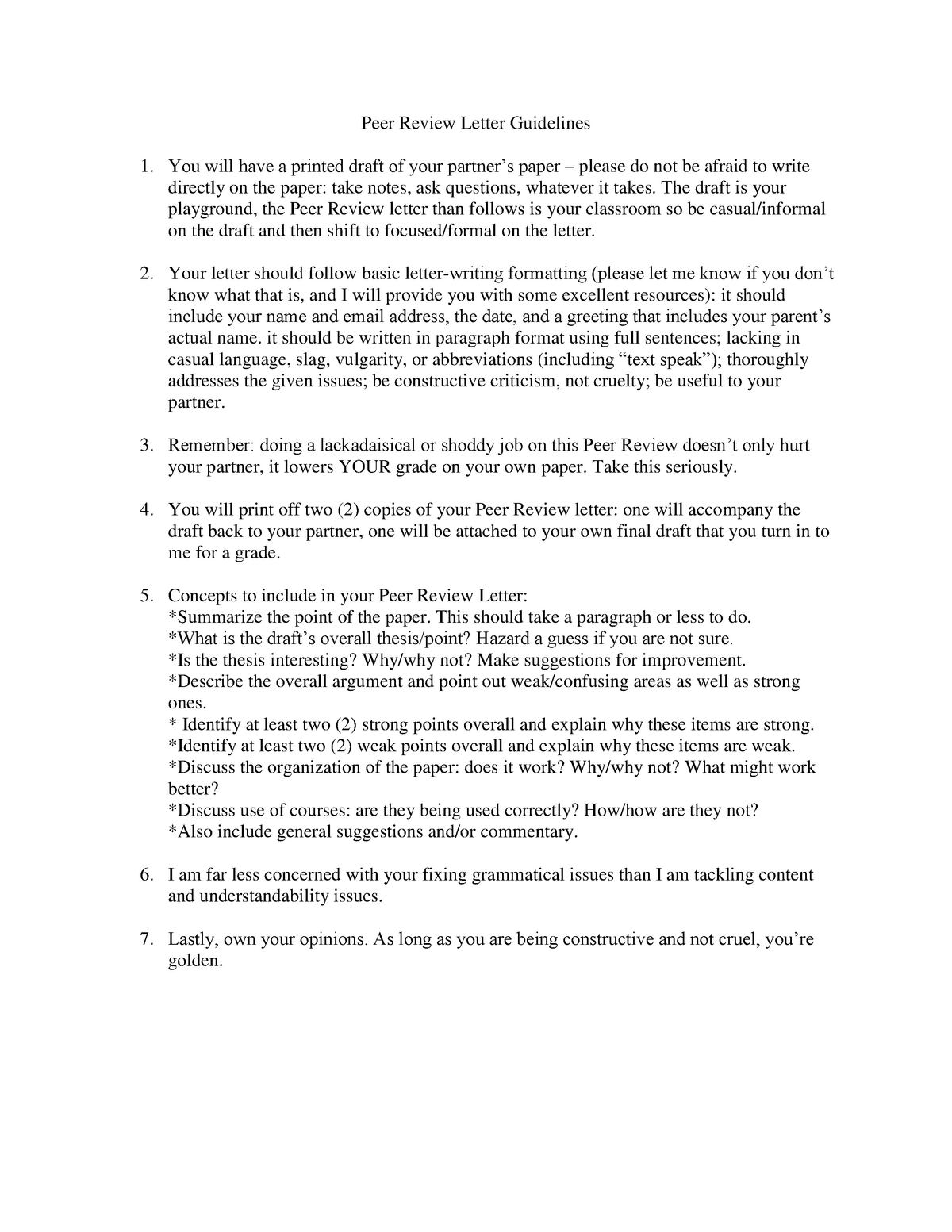 Peer Review Letter Guidlines - ENGL 102 Intermed Coll Writng
