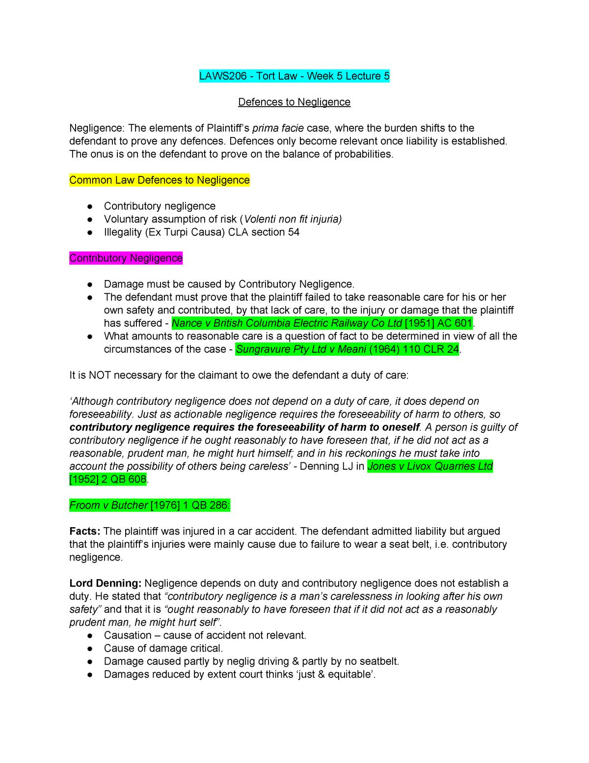 LAWS206 EXAM Notes - Torts - ACU - StuDocu