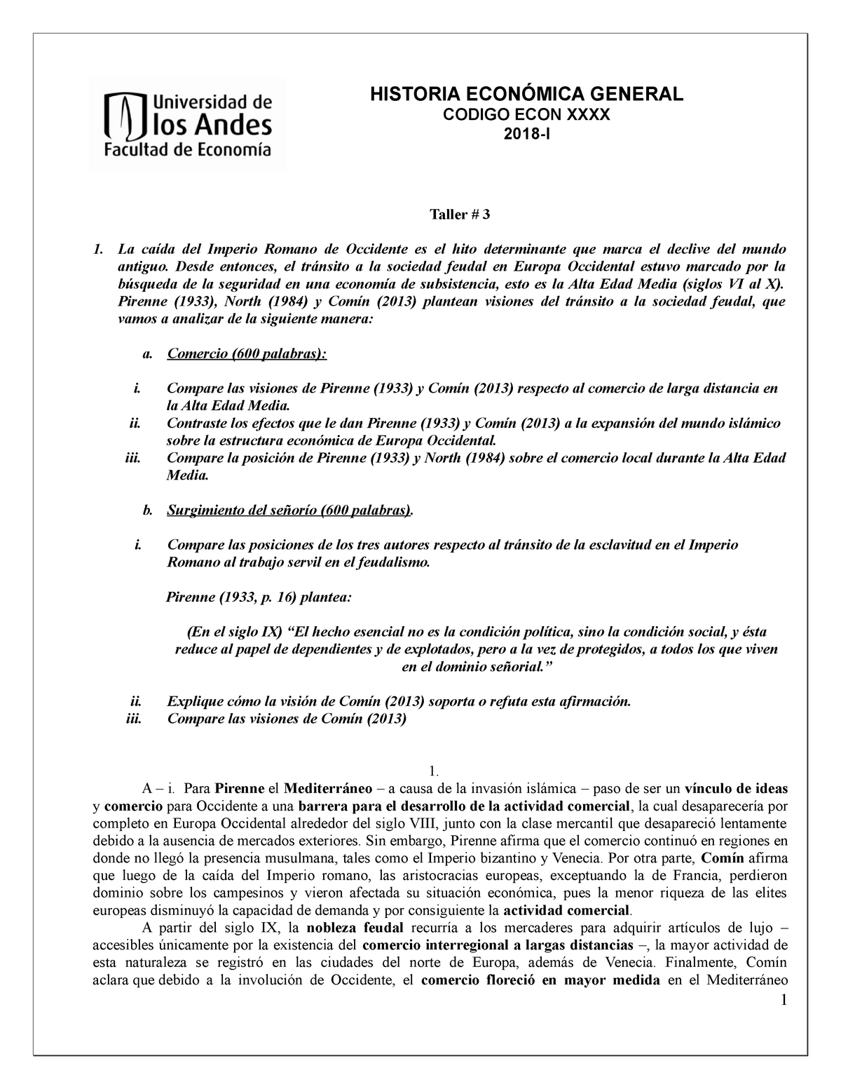 Taller 3 Heg Historia Económica General Econ1501 Studocu