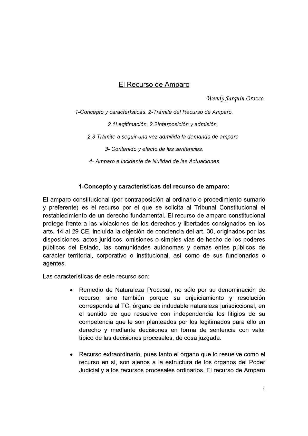 El Recurso De Amparo Derecho Constitucional I 50317 Uclm