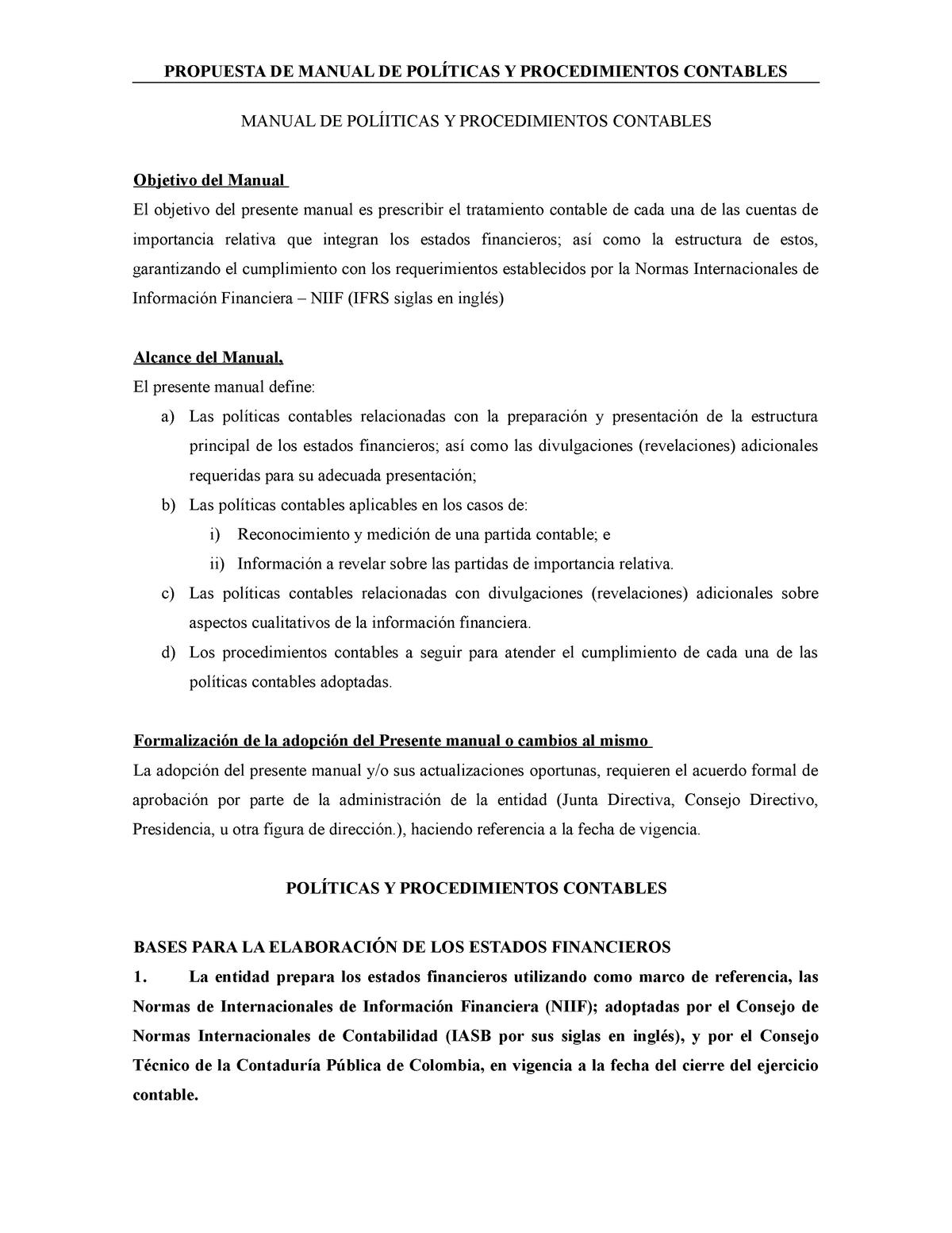 Manual De Politicas Y Procedimientos Contables Adaptar Studocu