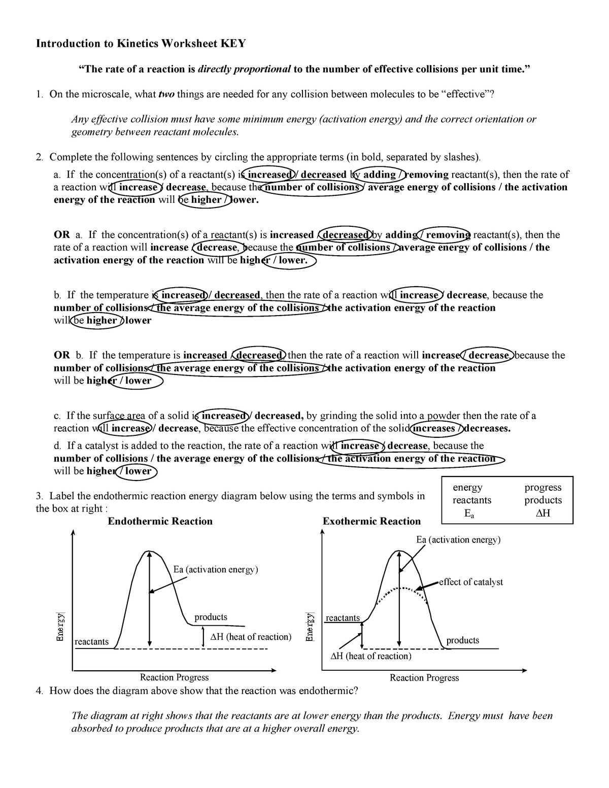 Intro Kinetics WKS KEY - Dr. F - CHEM 10060: General ...