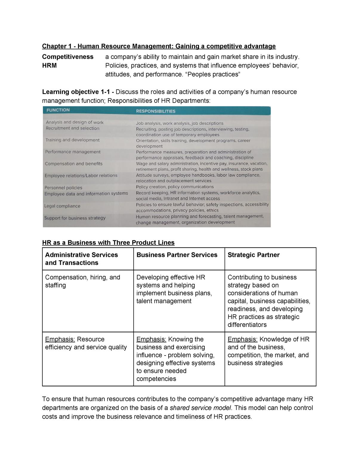 HRM - Gaining a competitive advantage - EBB617B05 - RUG