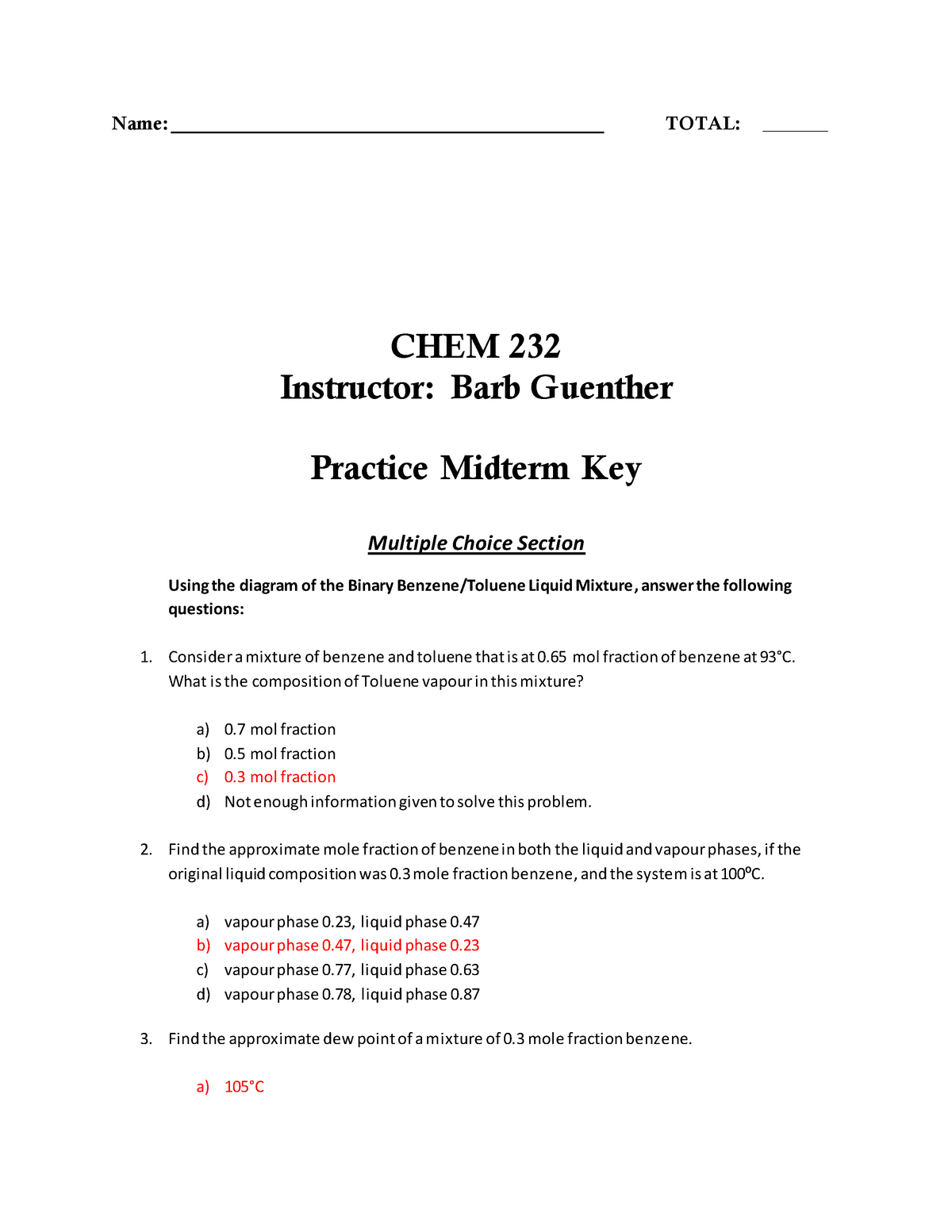 Midterm 2017, questions and answers - Chem 232 - SAIT - StuDocu
