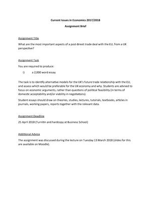 Current Issues in Economics 2017-18 - assignment brief