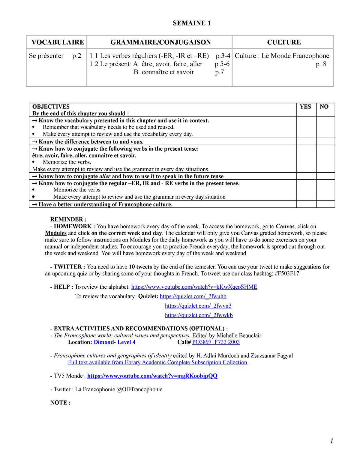 Week 1 French - FREN 503: Intermediate French - StuDocu