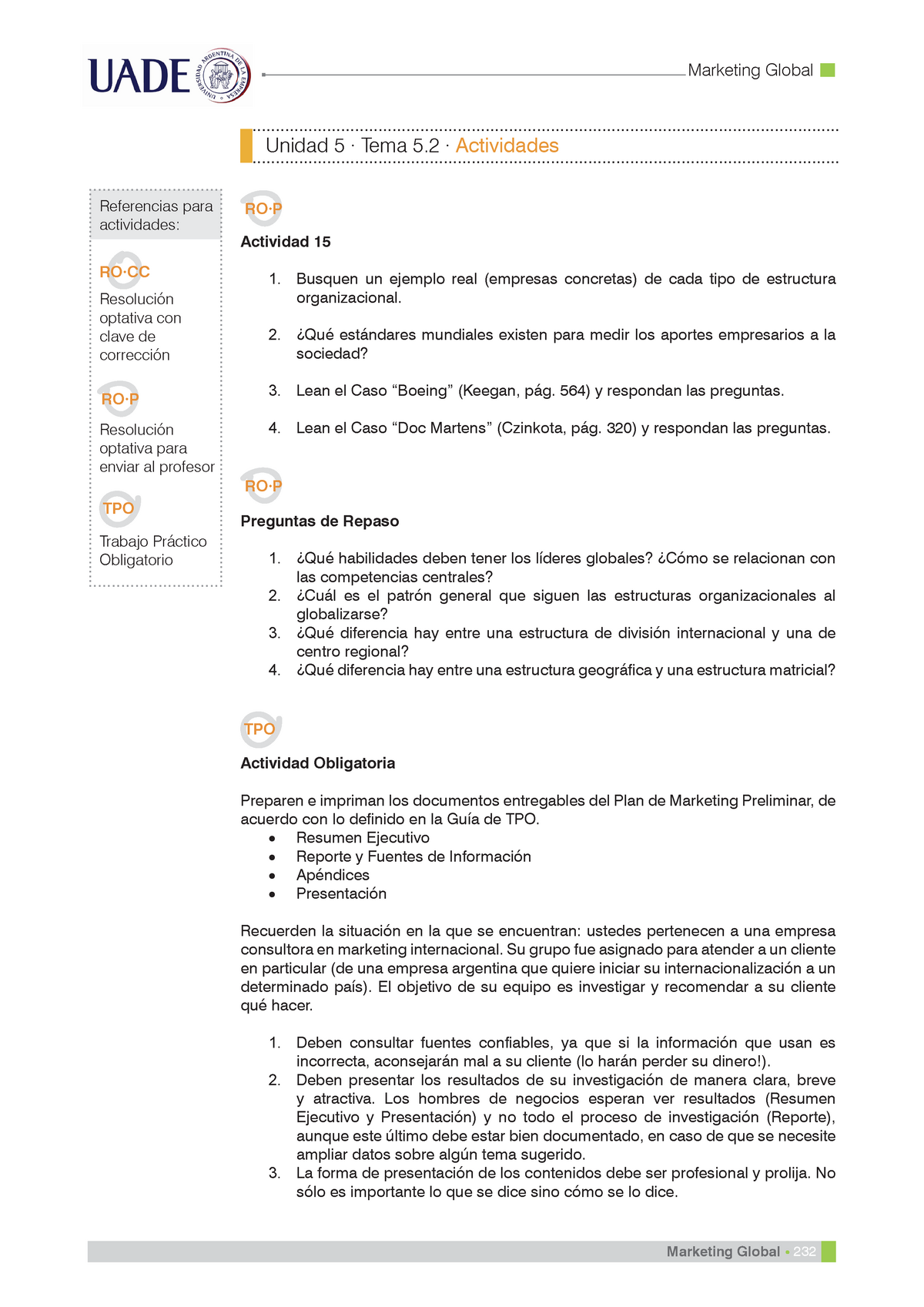 Actividades Tema 5 Unidad 5 Marketing Global Uade