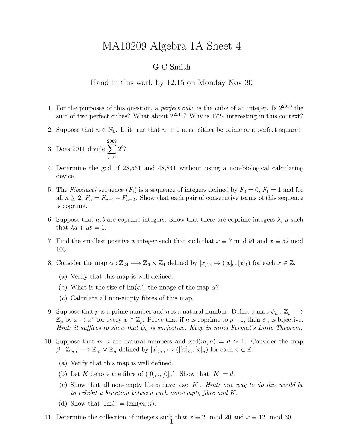 MA10209 2009-2010 Problem Sheet 4 - MA10209: Algebra 1A