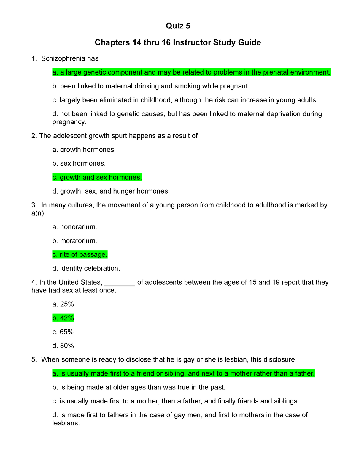 EPSY 202 Quiz 5 Chapters 14 thru 16 Study Guide - EPSY 202
