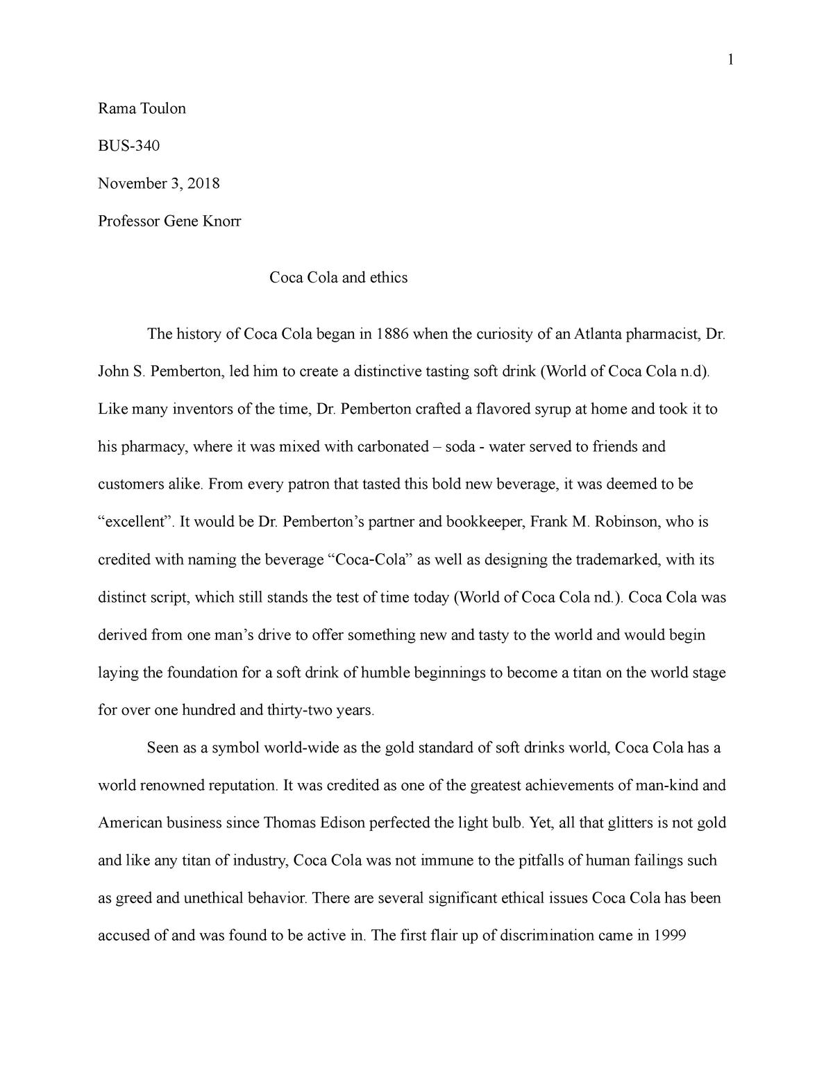 Ethics Case study - Coca Cola Final Draft - MGT-420: Organizational