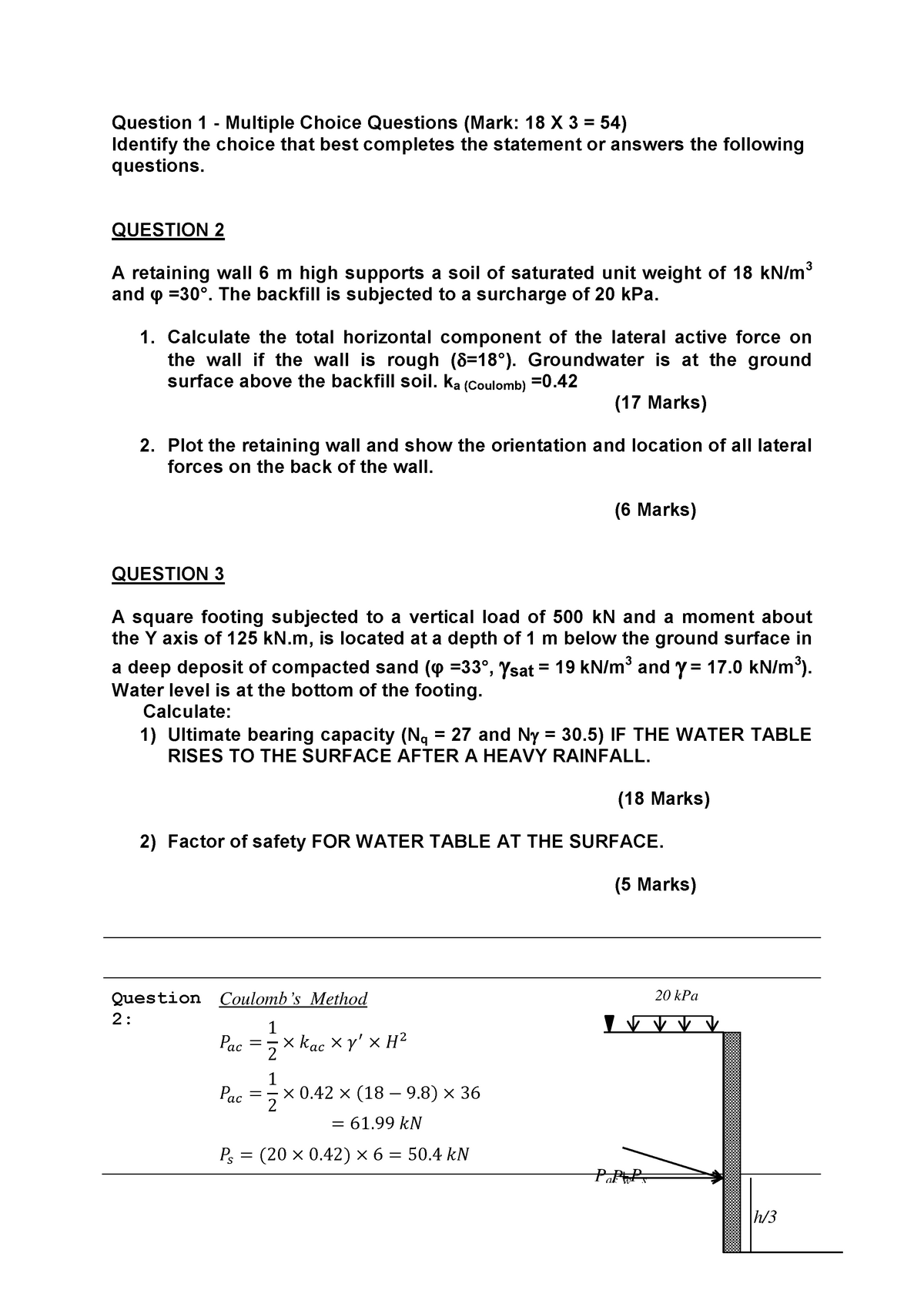 Exam 2013 Geotechnical Engineering 2, questions and answers