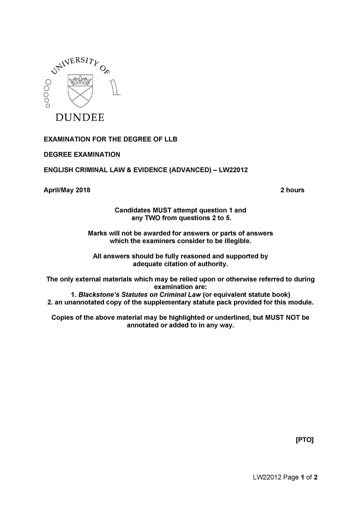 Exam 2018 - LW22012: English Criminal Law and Evidence (Advanced
