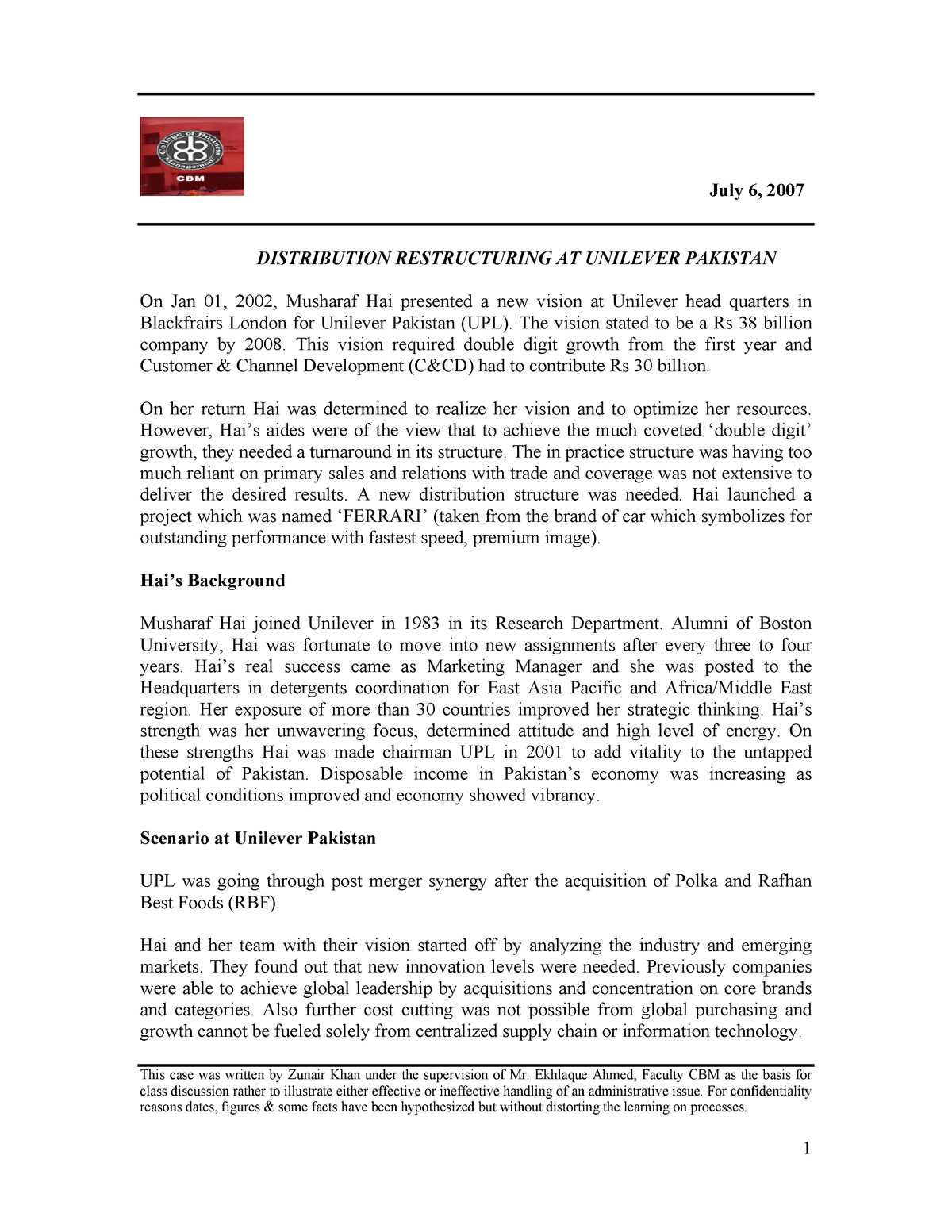 Unilever Dist Restrucing Case study - MKT-402: Marketing Management