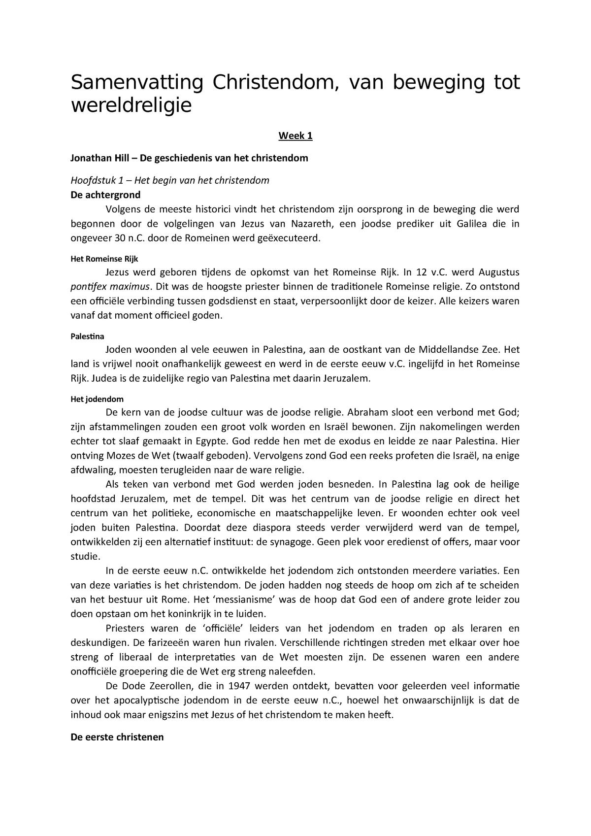Samenvatting Christendom, van beweging tot - StudeerSnel nl