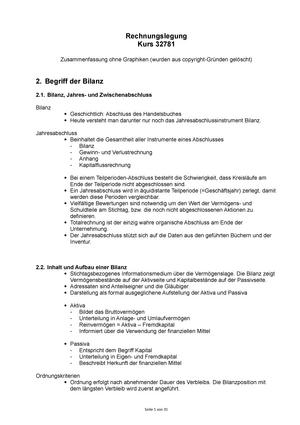 Zusammenfassung - Vorlesung Bilanztheorie - Rechnungslegung ...