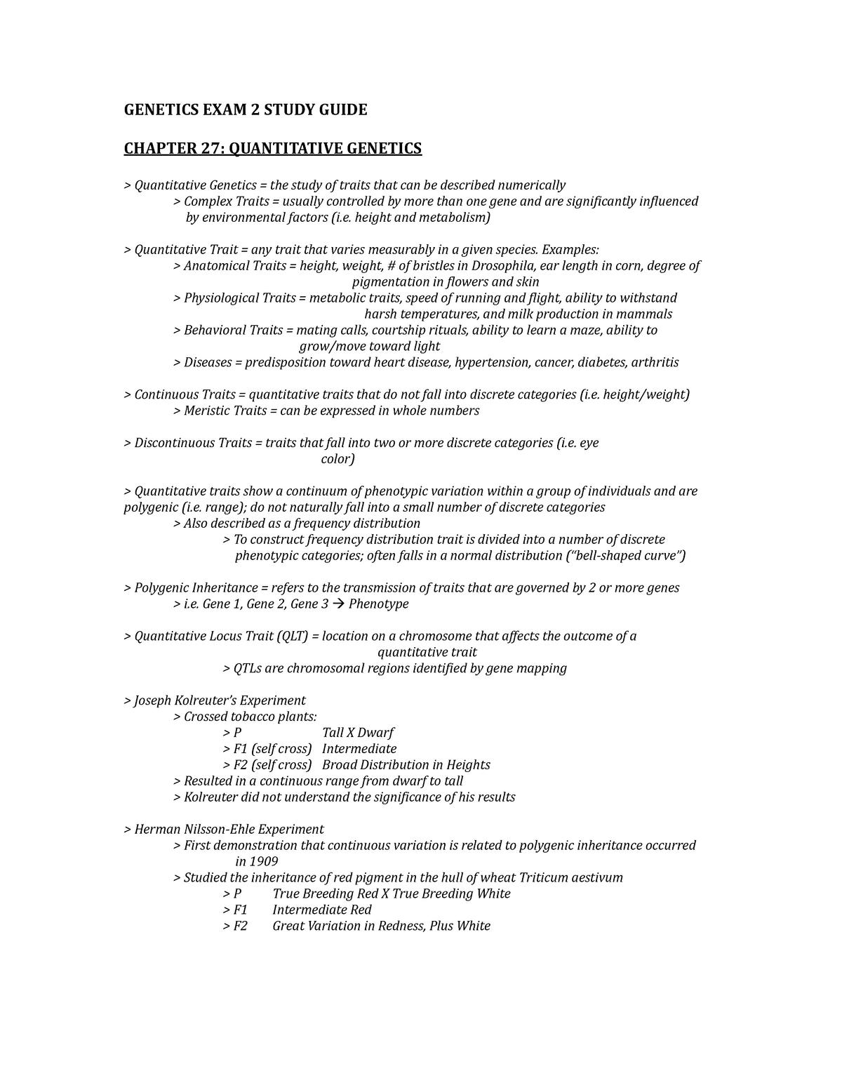 Study Genes Dwarf Environment In >> Genetics Exam 2 Study Guide Pcb3063 General Genetics Studocu