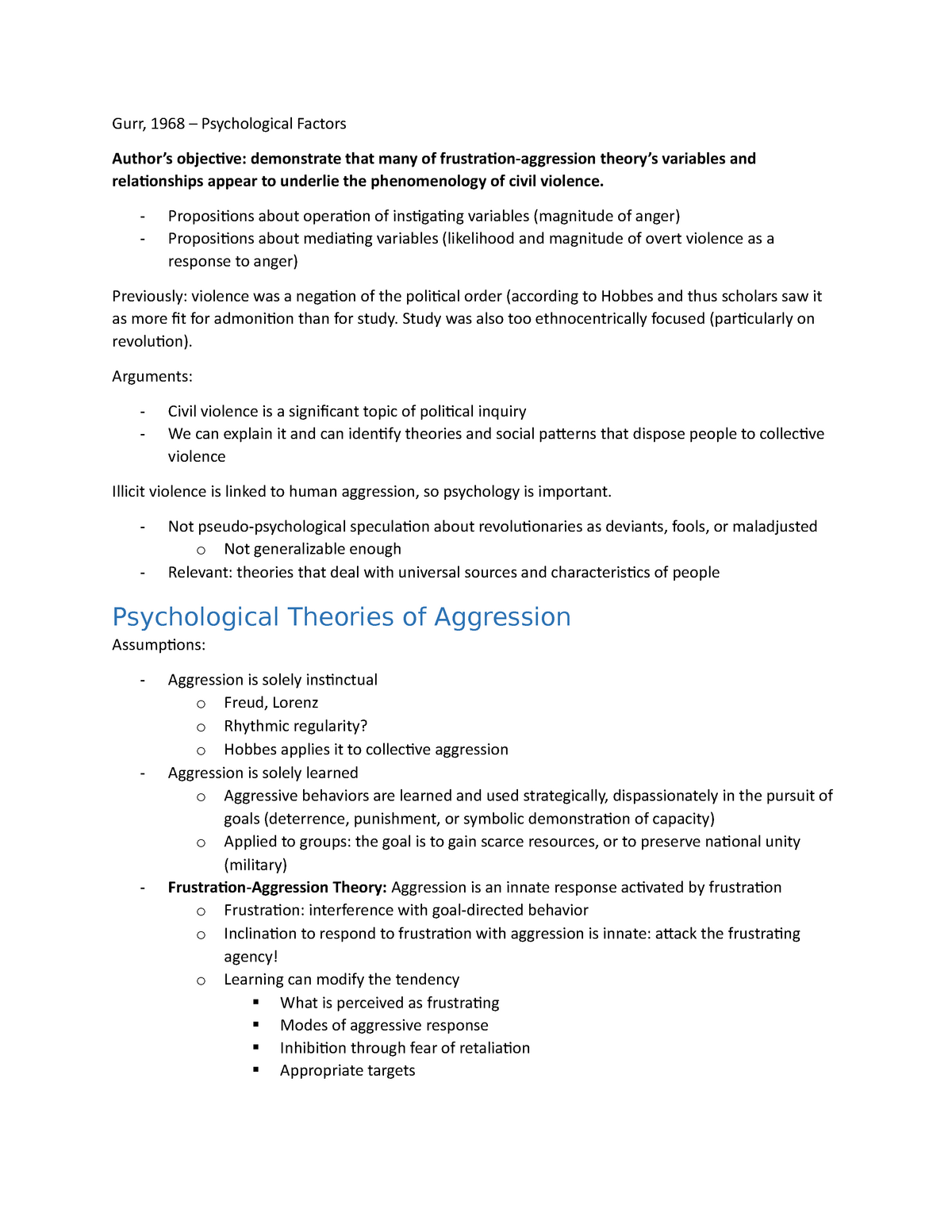 causes of aggression pdf
