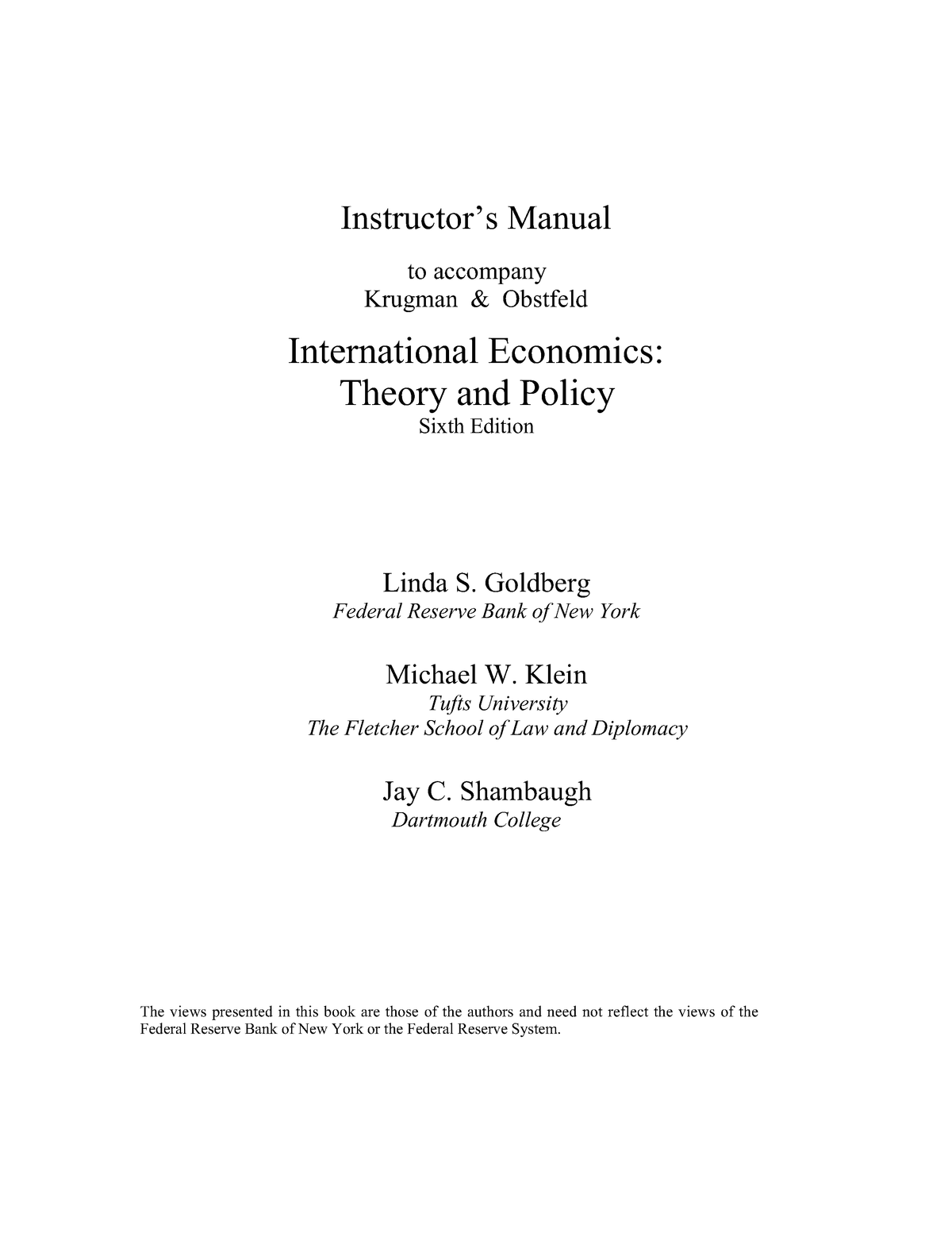 International Economics Krugman and Obstfeld solution manual - StuDocu